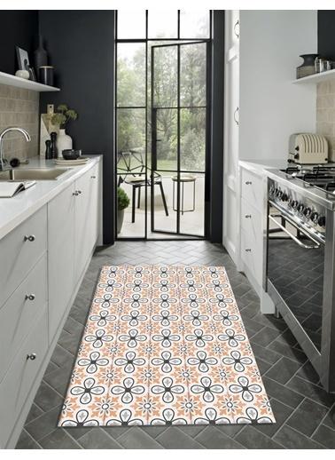 MarkaEv Turuncu Çiçekli Kitchen 69 Mutfak Halısı 133*190cm Renkli